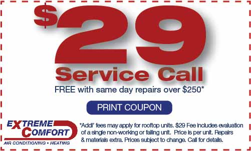Air Conditioning Repair Service Call discount coupon, extreme comfort air conditioning and heating