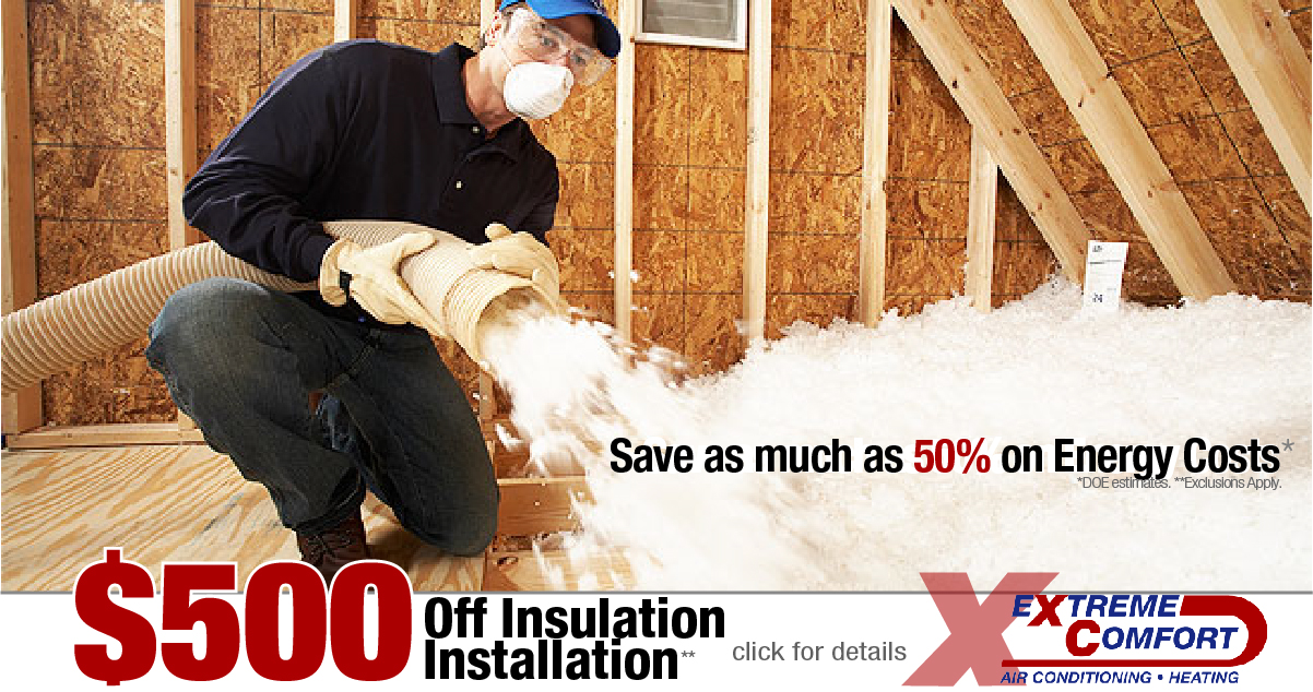 man blowing in attic insulation, attic insulation special, insulation rebate, extreme comfort air conditioning and heating