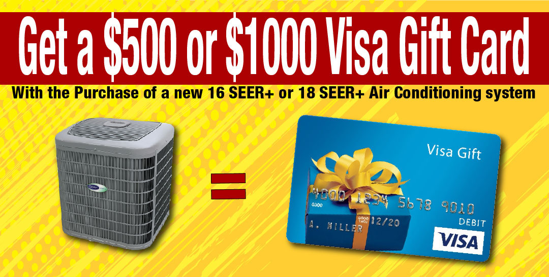 AC Installation rebate, hvac visa gift card, ac discount special, carrier rebates, trane ac rebates, york hvac rebates